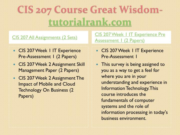 CIS 207 Week 1 Individual Data, Information, and Knowledge