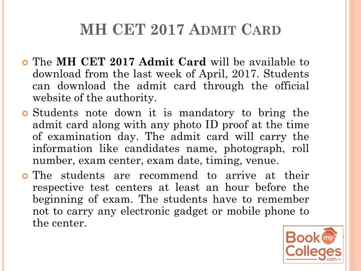 MH CET 2017 Admit Card