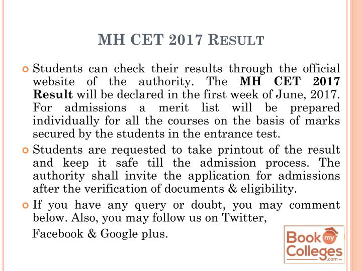 MH CET 2017 Result