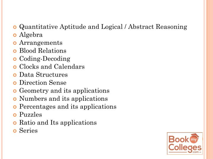 Quantitative Aptitude and Logical / Abstract Reasoning