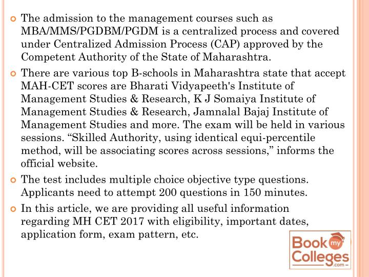 The admission to the management courses such