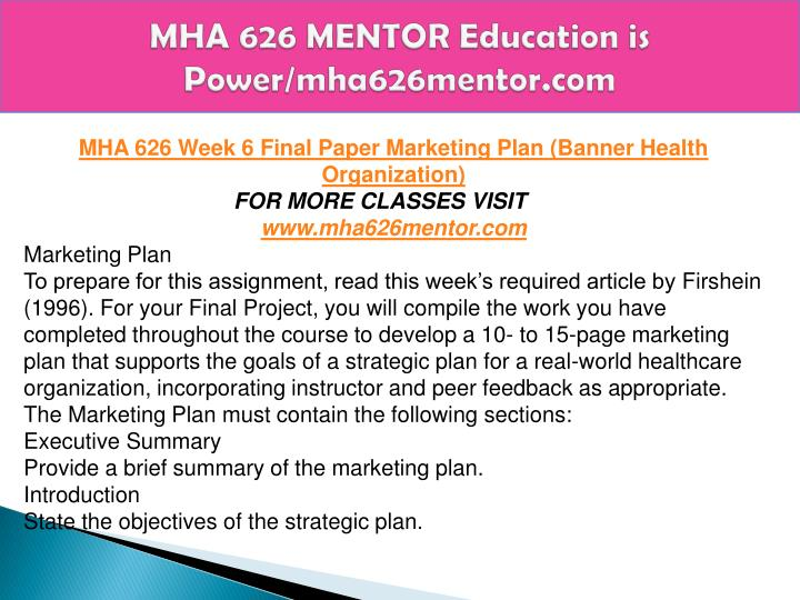 marketing plan mha 626 Mha 626 week 3 assignment competitor profiling mha 626 week 3 assignment competitor profiling mha 626 week 3 assignment competitor profiling pinterest.