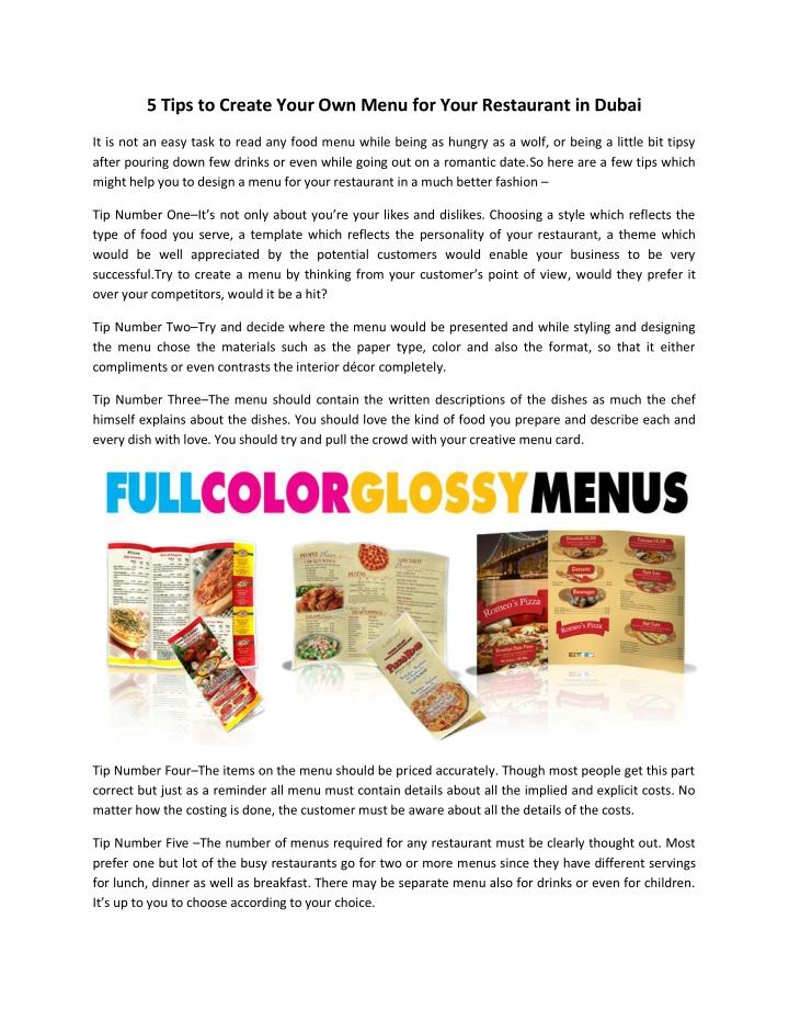 Ppt menu for your restaurant in dubai powerpoint
