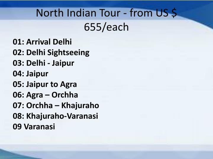 North Indian Tour - from US $ 655/each