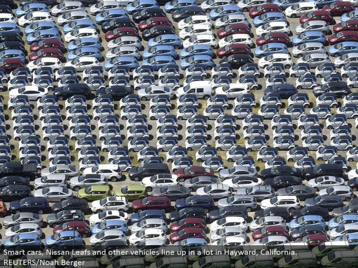 Smart autos, Nissan Leafs and different vehicles line up in a considerable measure in Hayward, California. REUTERS/Noah Berger