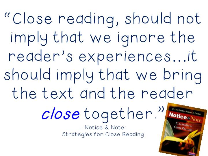 """Close reading, should not"