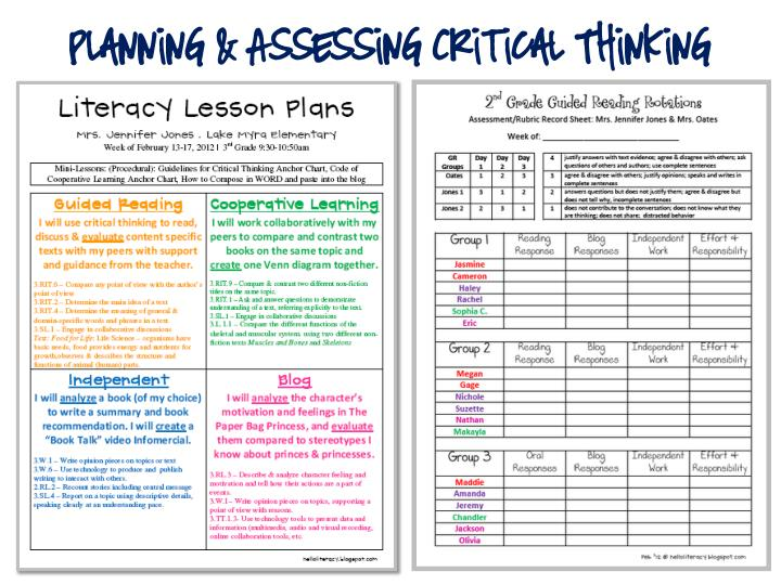Planning & Assessing Critical Thinking