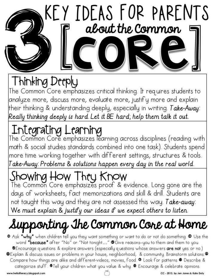 3 Key Ideas & Details for Parents about the Common Core State Standards