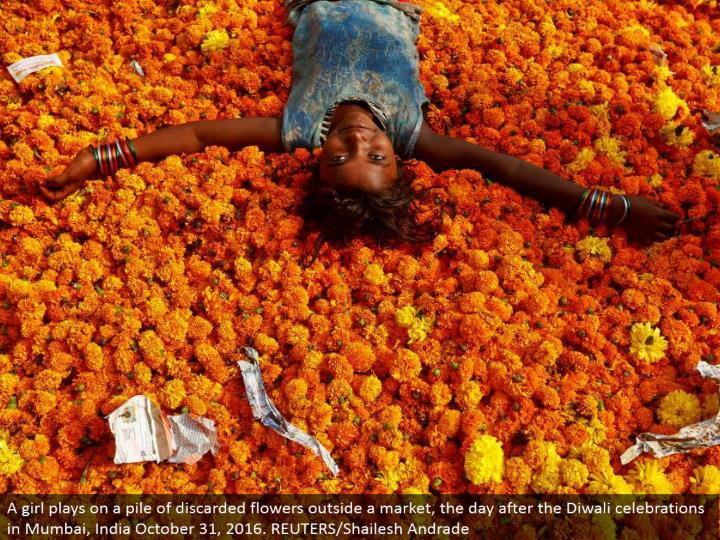 A young lady plays on a heap of disposed of blooms outside a market, the day after the Diwali festivities in Mumbai, India October 31, 2016. REUTERS/Shailesh Andrade