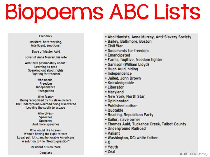 Biopoems ABC Lists