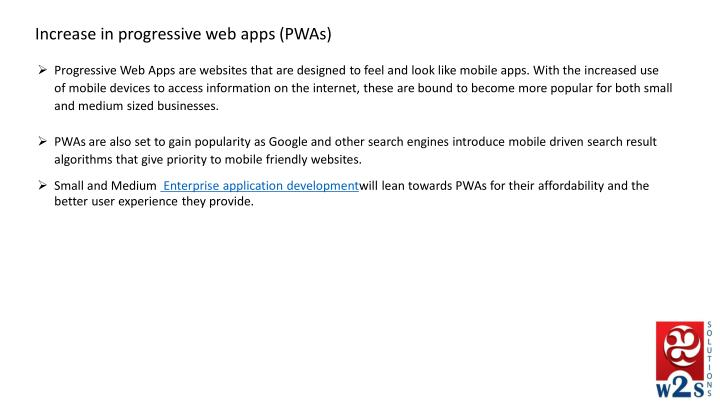 Increase in progressive web apps (PWAs)