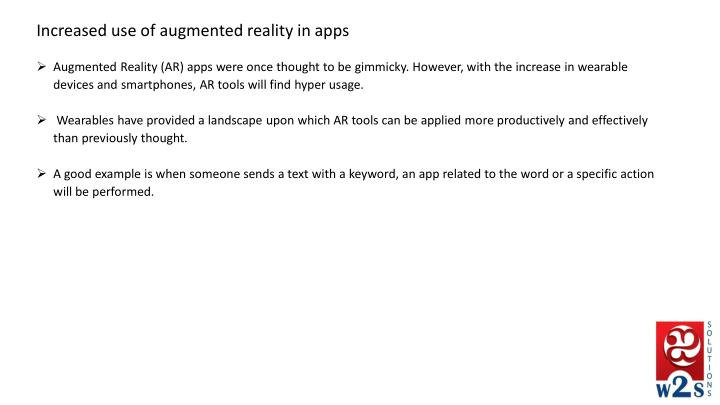 Increased use of augmented reality in apps
