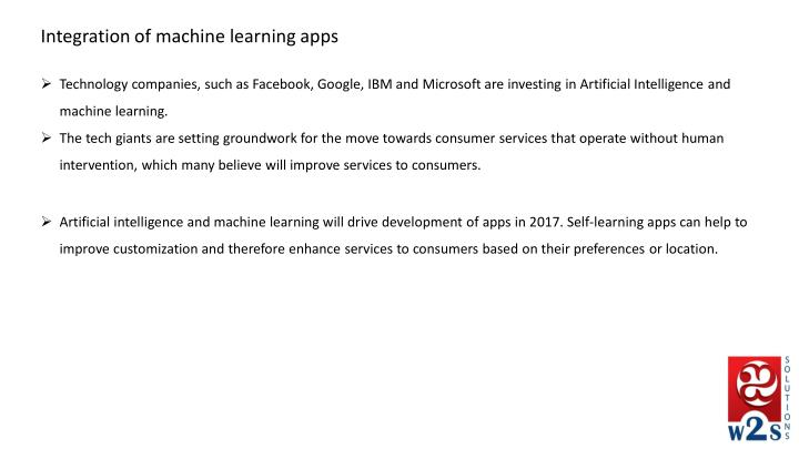 Integration of machine learning apps