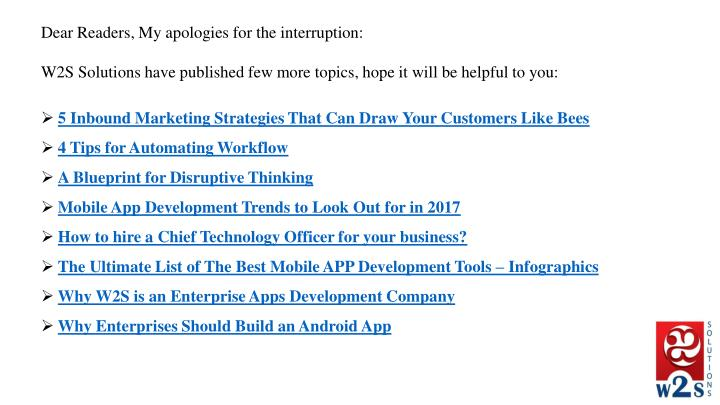 Dear Readers, My apologies for the interruption: