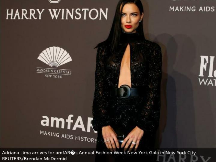 Adriana Lima touches base for amfAR�s Annual Fashion Week New York Gala in New York City. REUTERS/Brendan McDermid