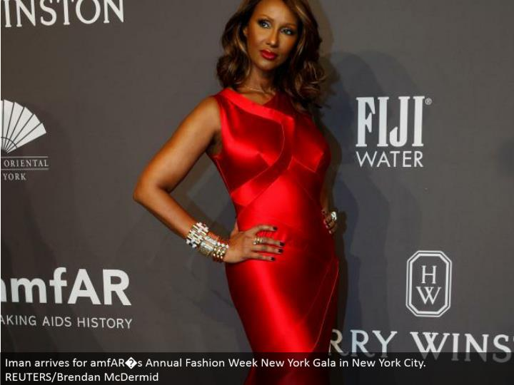 Iman touches base for amfAR�s Annual Fashion Week New York Gala in New York City. REUTERS/Brendan McDermid