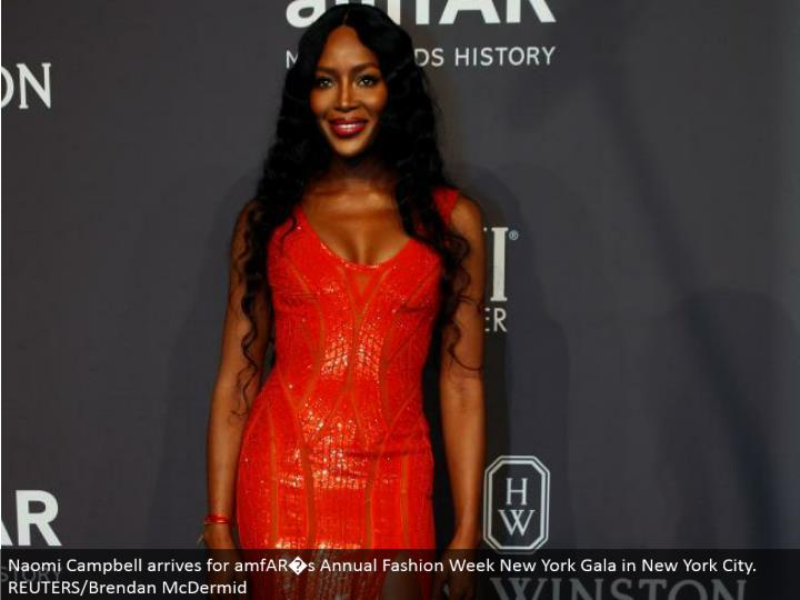 Naomi Campbell touches base for amfAR�s Annual Fashion Week New York Gala in New York City. REUTERS/Brendan McDermid
