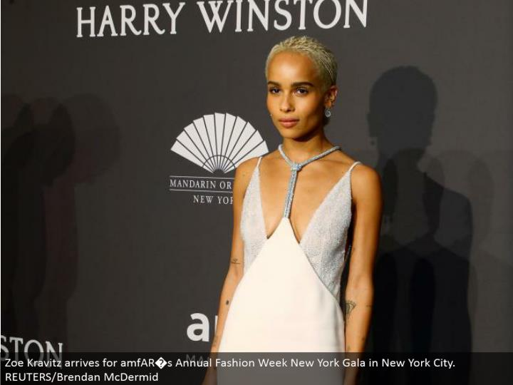 Zoe Kravitz touches base for amfAR�s Annual Fashion Week New York Gala in New York City. REUTERS/Brendan McDermid