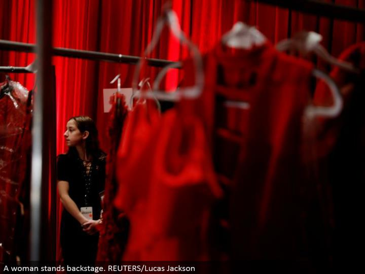 A woman stands backstage. REUTERS/Lucas Jackson