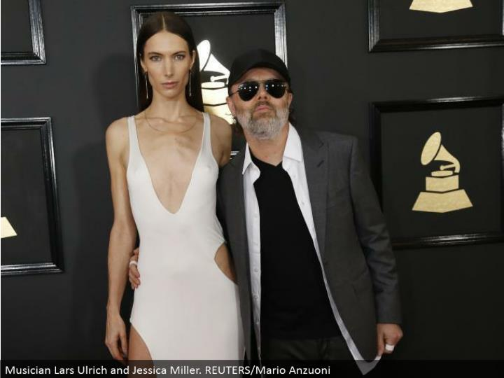 Musician Lars Ulrich and Jessica Miller. REUTERS/Mario Anzuoni