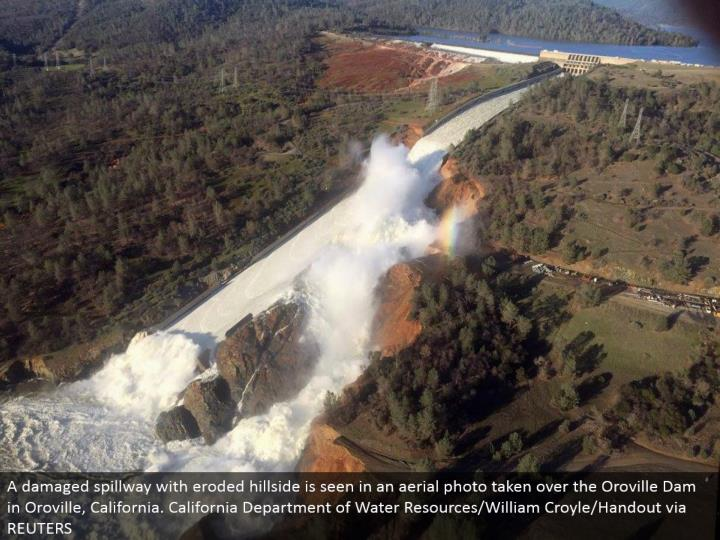 A harmed spillway with dissolved slope is found in an airborne photograph assumed control over the Oroville Dam in Oroville, California. California Department of Water Resources/William Croyle/Handout by means of REUTERS