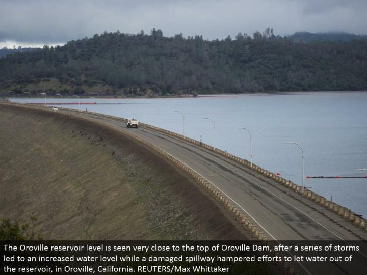 The Oroville repository level is seen near the highest point of Oroville Dam, after a progression of tempests prompted to an expanded water level while a harmed spillway hampered endeavors to give water a chance to out of the supply, in Oroville, California. REUTERS/Max Whittaker