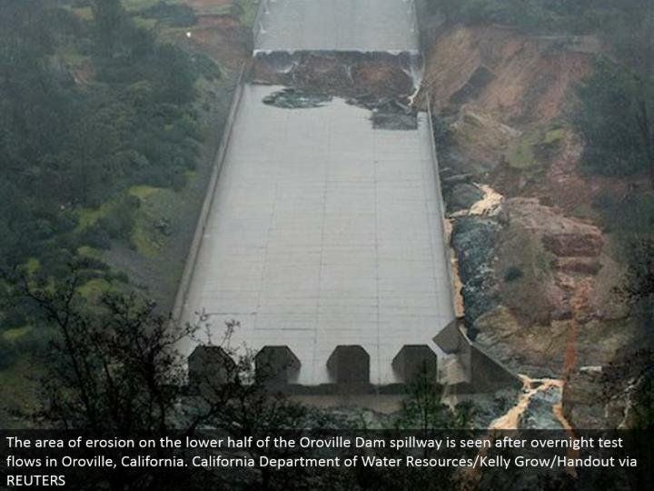 The region of disintegration on the lower half of the Oroville Dam spillway is seen after overnight test streams in Oroville, California. California Department of Water Resources/Kelly Grow/Handout by means of REUTERS