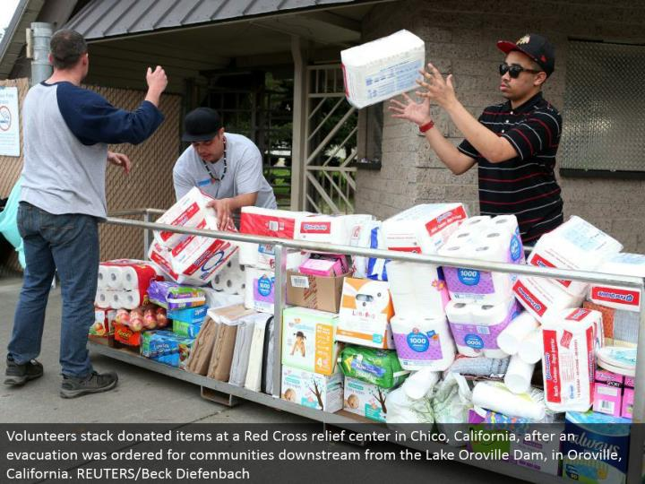 Volunteers stack gave things at a Red Cross alleviation focus in Chico, California, after a departure was requested for groups downstream from the Lake Oroville Dam, in Oroville, California. REUTERS/Beck Diefenbach