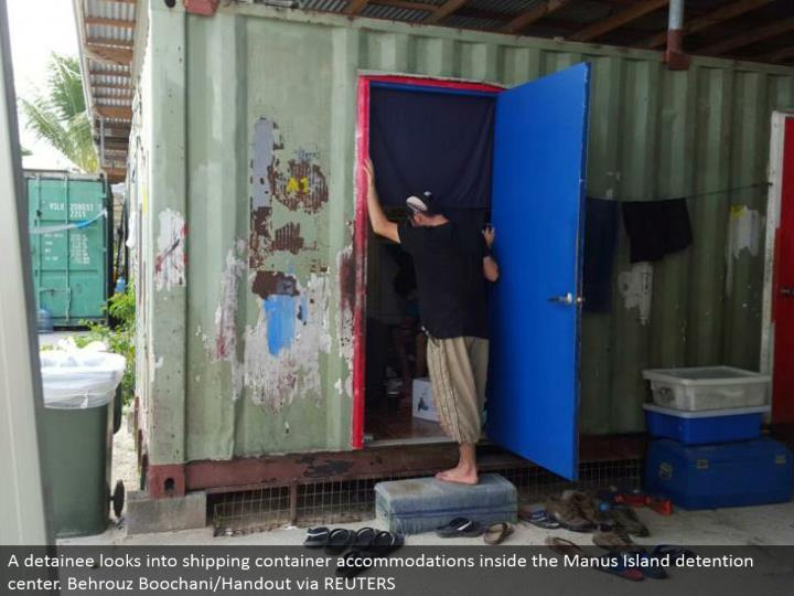 A detainee explores shipping holder stopping inside the Manus Island confinement center. Behrouz Boochani/Handout by method for REUTERS