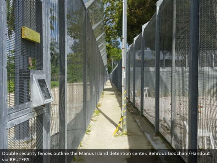 Double security divider design the Manus Island imprisonment center. Behrouz Boochani/Handout by method for REUTERS