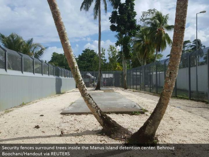 Security divider incorporate trees inside the Manus Island repression center. Behrouz Boochani/Handout by method for REUTERS
