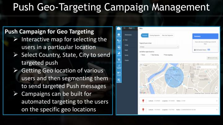 Push Geo-Targeting Campaign Management