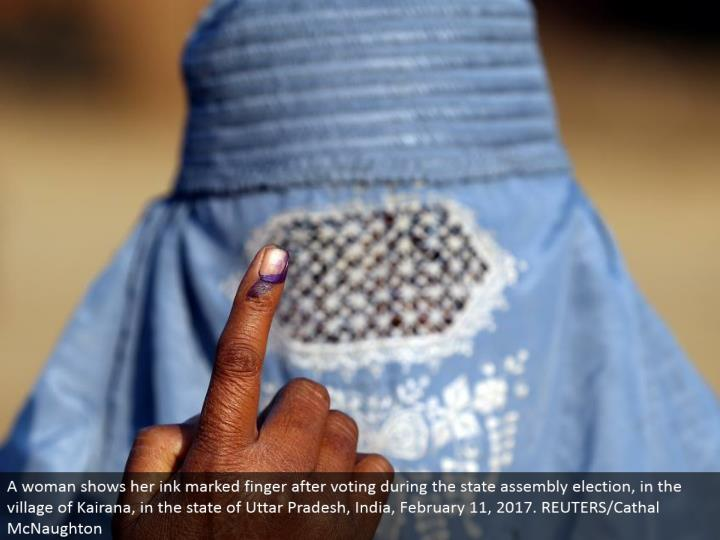 A lady demonstrates her ink stamped finger subsequent to voting amid the state get together decision, in the town of Kairana, in the condition of Uttar Pradesh, India, February 11, 2017. REUTERS/Cathal McNaughton
