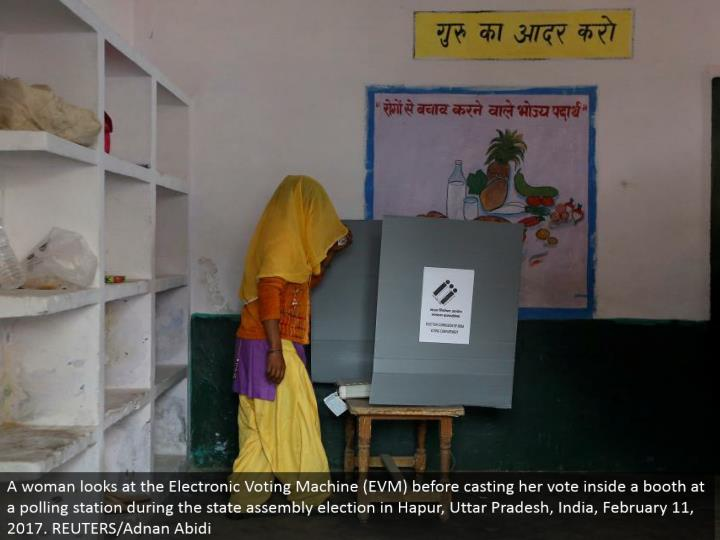 A lady takes a gander at the Electronic Voting Machine (EVM) before making her choice inside a corner at a surveying station amid the state get together decision in Hapur, Uttar Pradesh, India, February 11, 2017. REUTERS/Adnan Abidi
