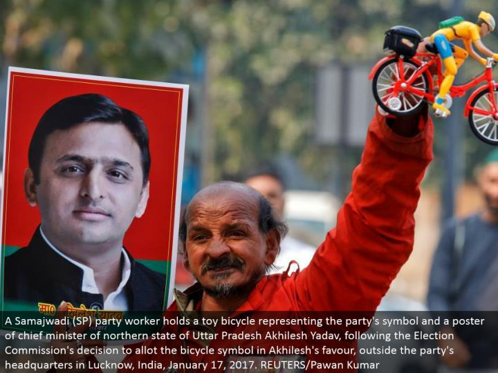 A Samajwadi (SP) party specialist holds a toy bike speaking to the gathering's image and a publication of boss priest of northern condition of Uttar Pradesh Akhilesh Yadav, taking after the Election Commission's choice to dispense the bike image to support Akhilesh, outside the gathering's central command in Lucknow, India, January 17, 2017. REUTERS/Pawan Kumar