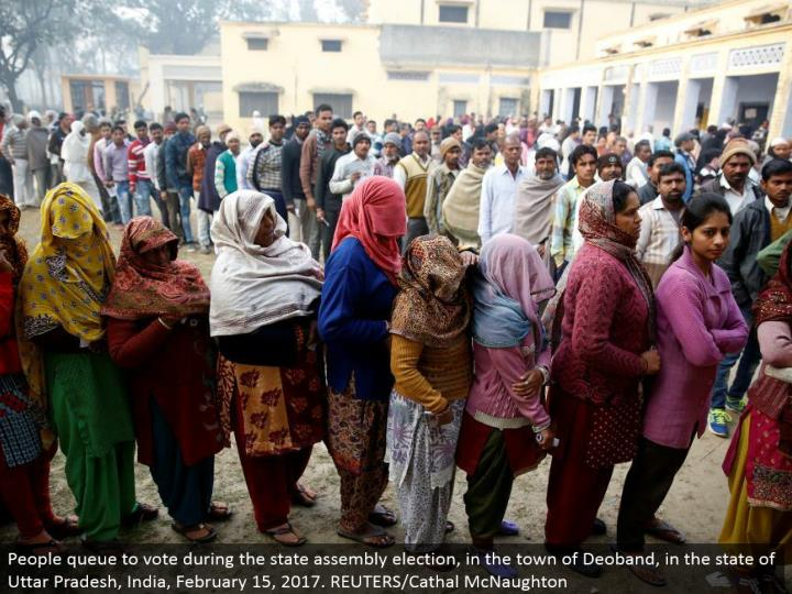 People line to vote amid the state gathering race, in the town of Deoband, in the condition of Uttar Pradesh, India, February 15, 2017. REUTERS/Cathal McNaughton