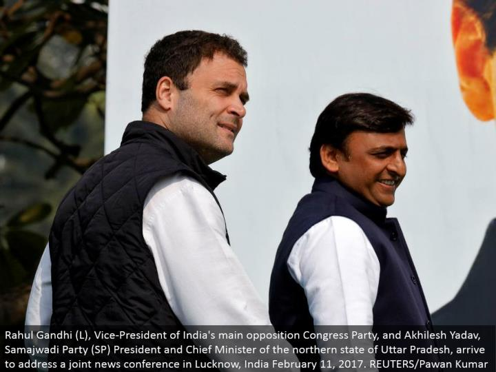 Rahul Gandhi (L), Vice-President of India's primary restriction Congress Party, and Akhilesh Yadav, Samajwadi Party (SP) President and Chief Minister of the northern condition of Uttar Pradesh, land to address a joint news meeting in Lucknow, India February 11, 2017. REUTERS/Pawan Kumar