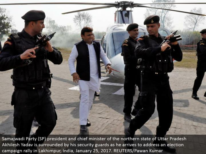 Samajwadi Party (SP) president and boss clergyman of the northern condition of Uttar Pradesh Akhilesh Yadav is encompassed by his security protects as he touches base to address a race crusade rally in Lakhimpur, India, January 25, 2017. REUTERS/Pawan Kumar