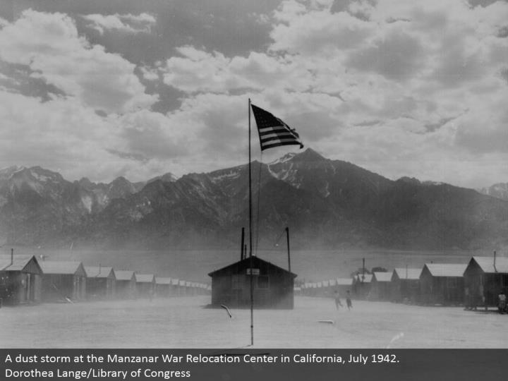 A tidy tempest at the Manzanar War Relocation Center in California, July 1942. Dorothea Lange/Library of Congress