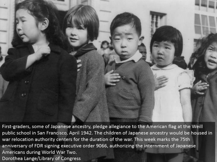 First-graders, some of Japanese heritage, promise steadfastness to the American banner at the Weill state funded school in San Francisco, April 1942. The offspring of Japanese parentage would be housed in war movement expert communities for the span of the war. This week points the 75th commemoration of FDR marking official request 9066, approving the internment of Japanese Americans amid World War Two. Dorothea Lange/Library of Congress