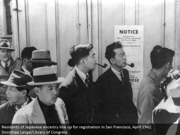 Residents of Japanese family line up for enrollment in San Francisco, April 1942. Dorothea Lange/Library of Congress