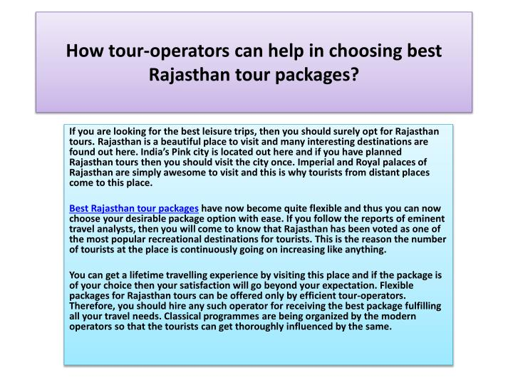 How tour operators can help in choosing best rajasthan tour packages