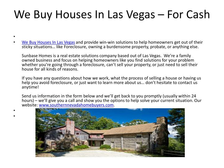 Ppt we buy houses in las vegas for cash powerpoint for House to buy in las vegas