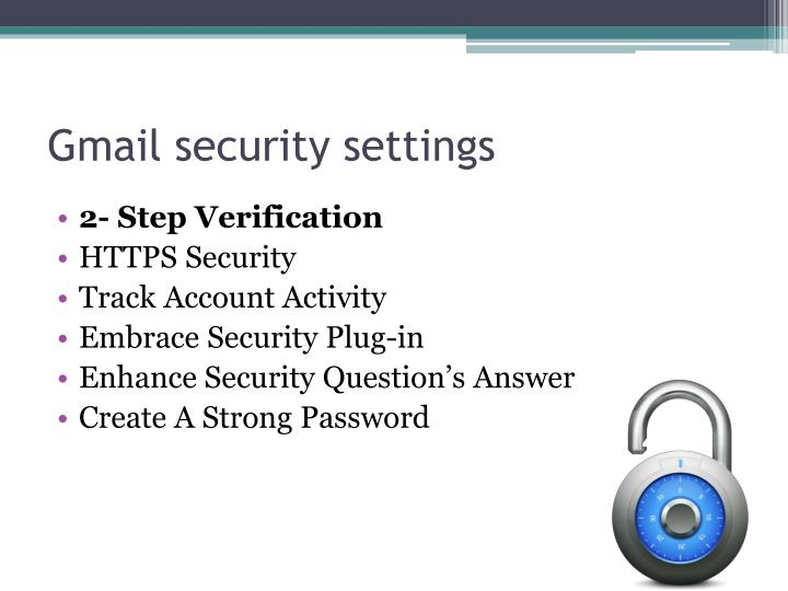 how to change gmail security settings