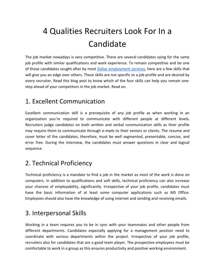 ppt 4 qualities recruiters look for in a candidate