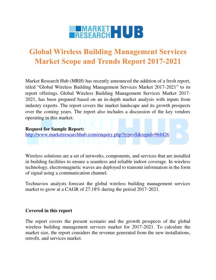Building Management Services : Ppt global wireless building management services market