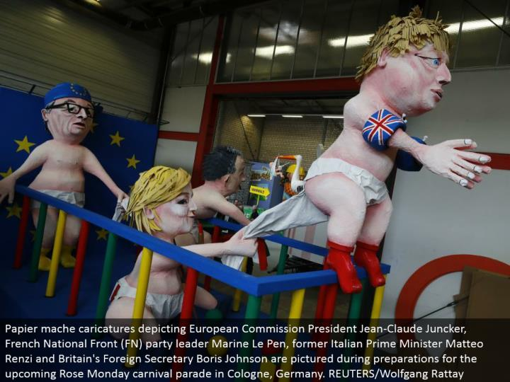 Papier mache personifications delineating European Commission President Jean-Claude Juncker, French National Front (FN) party pioneer Marine Le Pen, previous Italian Prime Minister Matteo Renzi and Britain's Foreign Secretary Boris Johnson are imagined amid arrangements for the forthcoming Rose Monday jamboree parade in Cologne, Germany. REUTERS/Wolfgang Rattay