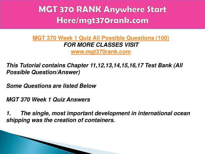 mgt 370 test 3 Study iowa state university management 370 flashcards and notes conquer your course and sign up for free today.