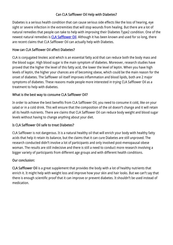 CLA Safflower Oil Review - Is it Worth it? (Updated 2018