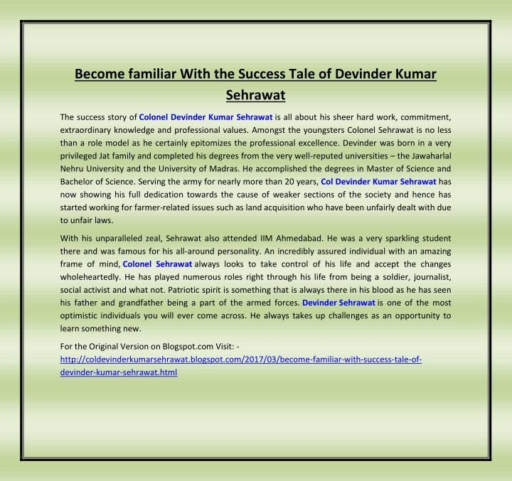Become familiar With the Success Tale of Devinder Kumar